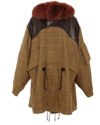 Rodarte Wool Tweed And Leather Anorak With Rust Fox Fur Collar - Lyst