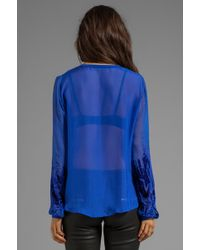 Twelfth Street Cynthia Vincent - Plant Henley Blouse in Blue - Lyst