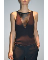 Yigal Azrouel Rib Knit Top with Mesh Black - Lyst