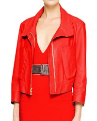 Donna Karan New York Bracelet Sleeve Leather Jacket With Front Pockets red - Lyst