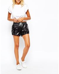 American Apparel - Wet Look Mini Athletic Shorts - Lyst