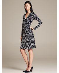 Banana Republic Gemma Navy Print Wrap Dress Preppy Navy - Lyst