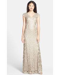 Tadashi Shoji Sequin Lace Gown - Lyst