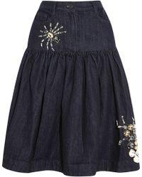 Sibling - Crystal-Embellished Ruched Denim Skirt - Lyst