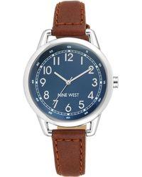 Nine West Silvertone Brown Leather Strap Watch - Blue
