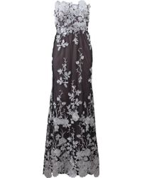 Notte by Marchesa Embellished Floral Tulle Gown black - Lyst
