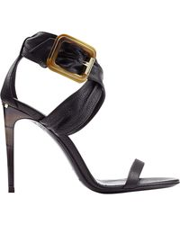 Burberry Marham Leather Sandals black - Lyst