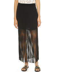 Monrow Crepe Skirt With Fringe - Black black - Lyst