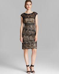Sue Wong Illusion Neck Cap Sleeve Soutache Sheath Dress - Lyst
