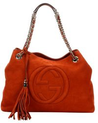 Gucci Old Whisky Suede 'Soho' Convertible Top Handle Tote - Lyst