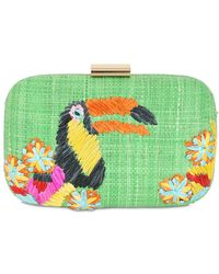 Serpui Toucan Embroidered Straw Clutch - Green