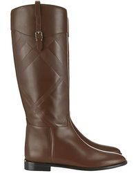 Burberry Copse Embossed Check Leather Riding Boots - Lyst