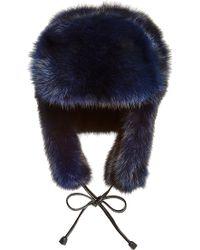 Pologeorgis - Navy Sable Fur Trapper Hat - Lyst