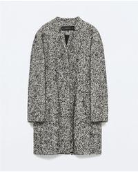Zara Black Boucle Coat black - Lyst