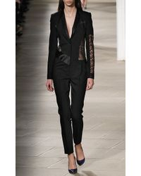 Prabal Gurung - Long Sleeve Tailored Jumpsuit With Lace Inserts - Lyst