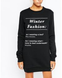 Adolescent Clothing Sweater Dress With Winter Fashion Print - Black