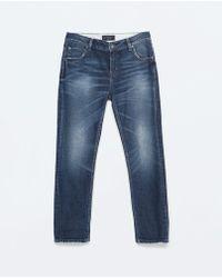 Zara Dark Wash Boyfriend Jeans - Lyst