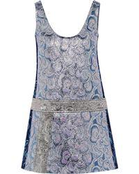 Miu Miu Metallic Brocade Mini Dress - Lyst