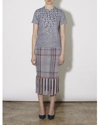 Rhié Plaid Skirt With Fringe gray - Lyst