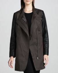 Bagatelle - Water-repellent Coat with Leather Sleeves - Lyst