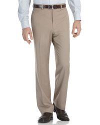 Calvin Klein Taupe Microfiber Flat-front Dress Pants - Lyst