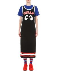 Mini Cream - Eye-embroidered Cotton-jersey Dress - Lyst