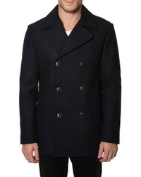 7 Diamonds - 'seville' Wool Blend Double Breasted Peacoat - Lyst