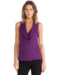 Theory Double Cowl Neck Blouse - Lyst