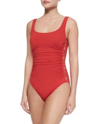 MICHAEL Michael Kors Studded Ruched One-Piece Swimsuit - Lyst