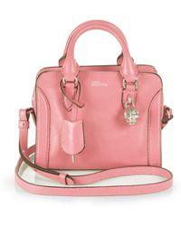 Alexander McQueen Padlock Mini Leather Zip Satchel pink - Lyst