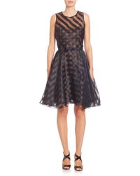 Notte by Marchesa | Striped Belted Organza Dress | Lyst