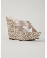 Pelle Moda Gold Wedge Sandals - Lyst