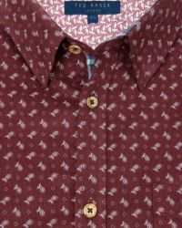 Ted Baker Shirt With Floral Print In Sim Fit - Blue