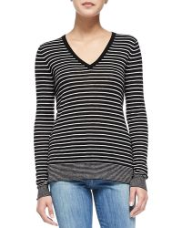Vince Contrast-trim Striped Knit Tee - Lyst