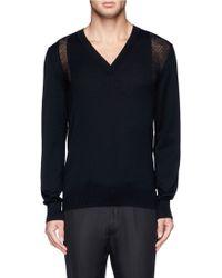 Alexander McQueen Open Knit Harness Wool Sweater - Lyst