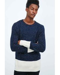 Native Youth - Split Panel Cable Knit Jumper In Navy - Lyst