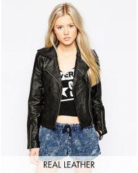 RVCA Leather Biker Jacket - Black