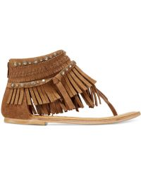 Hidden Flat Brown Sandals Treasure Fringe HID2Y9WE