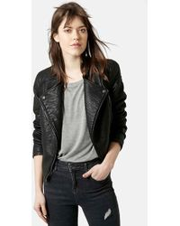 Topshop Faux Leather Biker Jacket black - Lyst