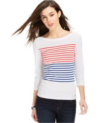 Tommy Hilfiger Flag Striped Boat-Neck Top - Lyst
