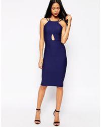 Oh My Love Cross Over Midi Dress - Blue