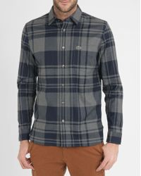 Lacoste | Grey And Blue Checked Flannel Shirt | Lyst