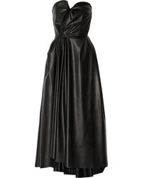 Lanvin Gathered Faux Stretch Leather Dress - Lyst