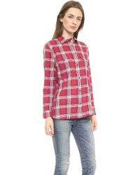 Madewell Red Plaid Ex Bf Buttondown Warm Berry - Lyst
