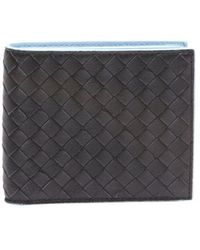 Bottega Veneta Dark Navy Intrecciato Leather Bifold Wallet - Lyst