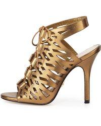 Pour La Victoire Lasercut Metallic Leather Sandal - Lyst