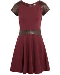 Diane Von Furstenberg Delyse Leathertrimmed Stretchjersey Mini Dress - Lyst