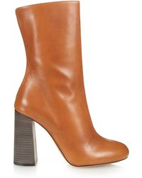 Chloé Leather Mid-Calf Boots - Brown