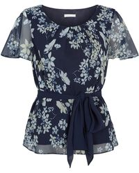 Jacques Vert Butterfly Floral Belted Top - Multicolour