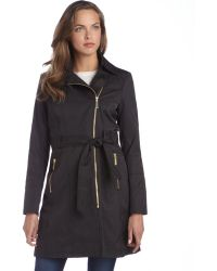 Vince Camuto Black Cotton Blend Zip Front Hooded Removable Liner Trench Coat - Lyst